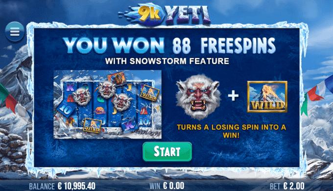 Du kan vinde op til 880 free spins i 9K Yeti spillemaskinen