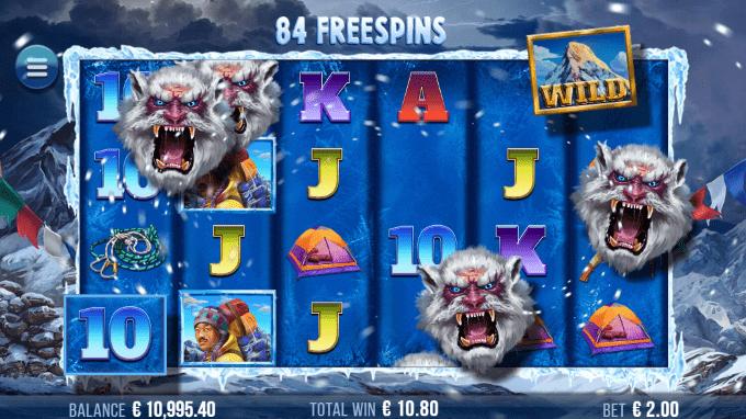 Free spins-runden i 9K Yeti fungerer med 'Snowstorm'-funktionen