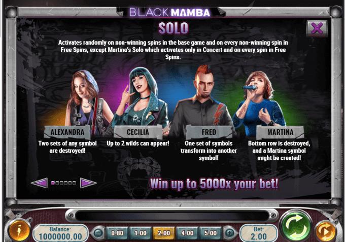 Black Mamba indeholder såkaldte 'Solo'-funktioner