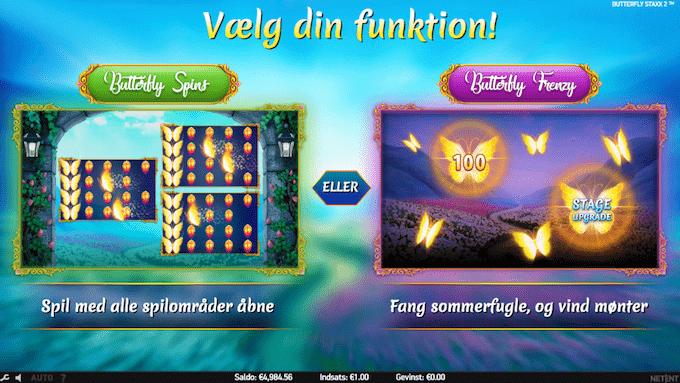Vælg mellem free spins og pick n' click-bonusrunde i Butterfly Staxx 2 spillemaskinen