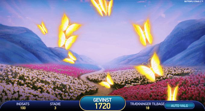 I Butterfly Staxx' bonusrunde handler det om at trykke på sommerfugle og indsamle møntgevinster