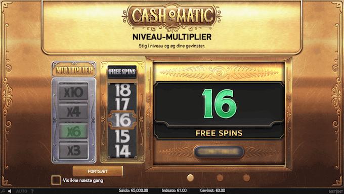 Man kan spille med free spins i Cash-O-Matic