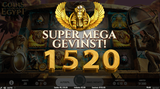 Prøv Coins of Egypt hos Goliath Casino