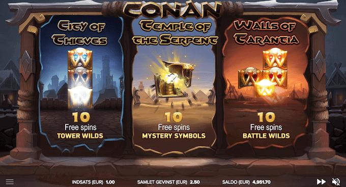 Vælg imellem tre forskellige bonusrunder med free spins i Conan