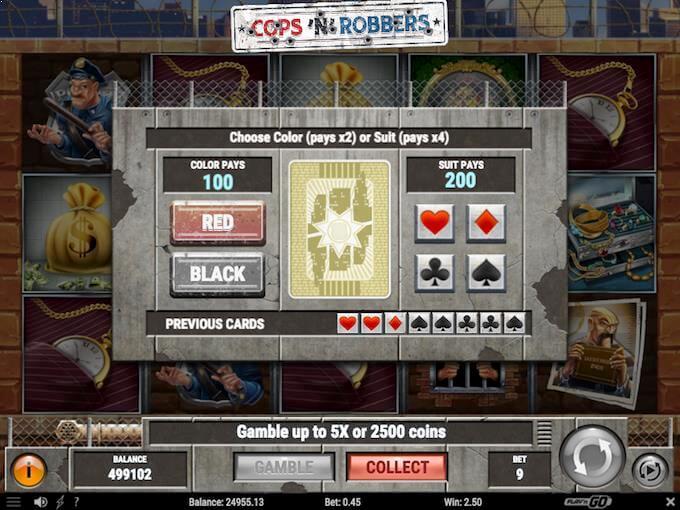 Prøv gamble funktionen i Cops'n'Robbers
