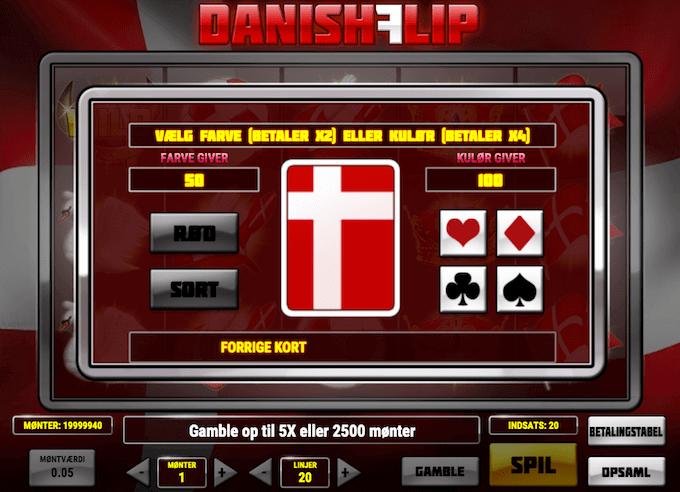 Man kan gamble med sine gevinster i Danish Flip spillemaskinen