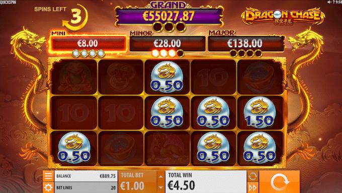 Dragon Chase spillemaskinen fungerer også med free spins