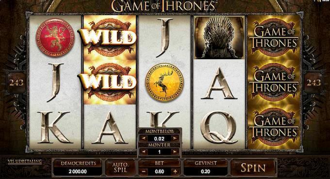Prøv Game of Thrones på Vera&John casino