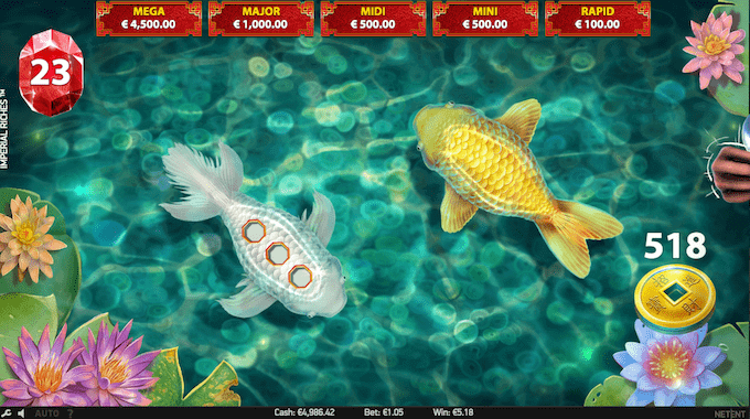 Man aktiverer Imperial Riches' jackpotspil ved at samle juveler i bonusspillet.