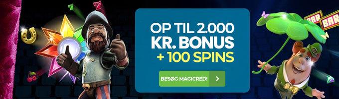 MagicRed Casino: Få op til 2.000 kr. casino bonus + 100 free spins