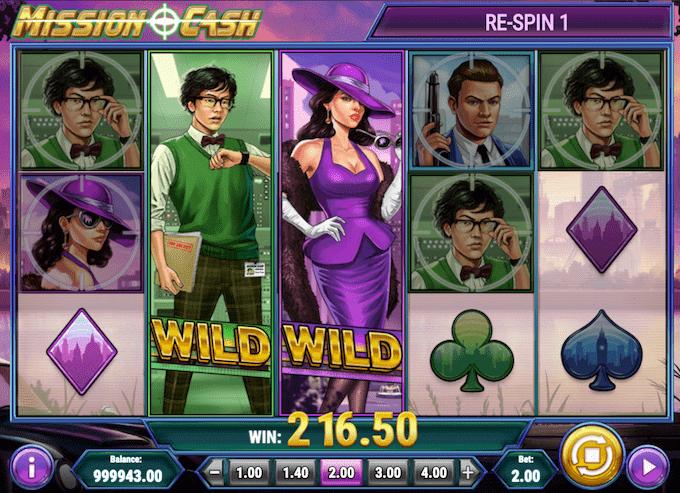 Spil med free spins i Mission Cash spillemaskinen