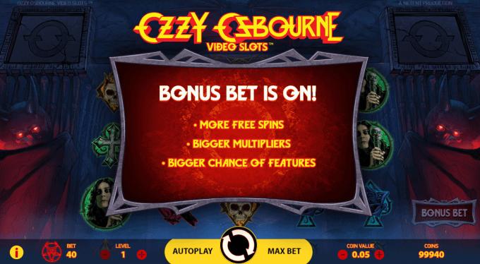 Spil med Bonus Bet i Ozzy Osbourne Video Slot