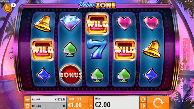 Prime Zone spillemaskinen kan spilles med free spins