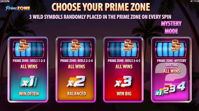 Prime Zone fungerer med fire forskellige free spins runder