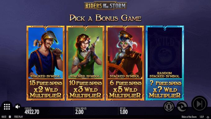 Riders of the Storms bonusrunde kan spilles på fire forskellige måder