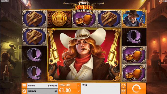 Sticky Bandits: Wild Return spillemaskinenspilles med 5 hjul, 4 rækker og 40 fastlåste betalingslinjer