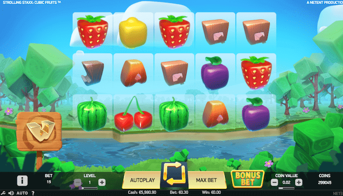 Spil Strolling Staxx: Cubic Fruits hos Mr Green
