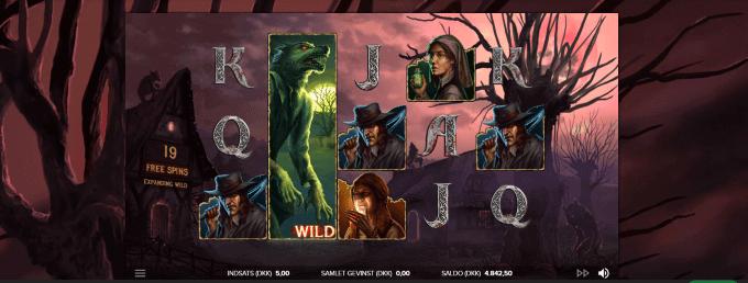 Man kan spille free spins med forskellige wilds i The Wolf's Bane