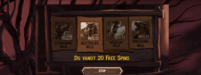 Du kan vinde free spins i The Wolf's Bane spillemaskinen
