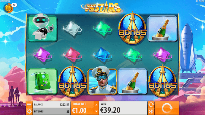 Spil Ticket to the Stars hos Mr Green
