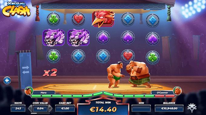 I Yokozuna Clash spillemaskinen skal man i ringen sumoringen i spillets free spins runde